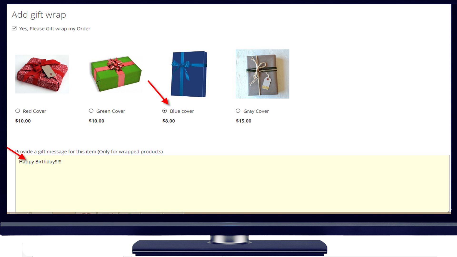 gift wrap Magento 2 desktop view