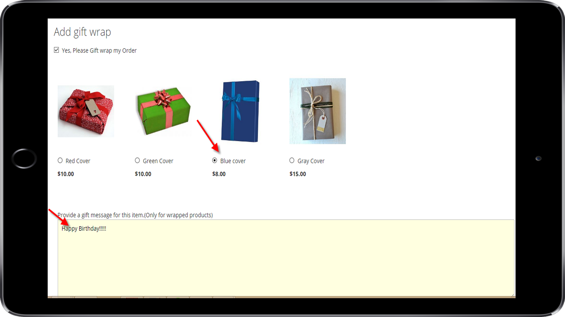 gift wrap magento 2 tablet view