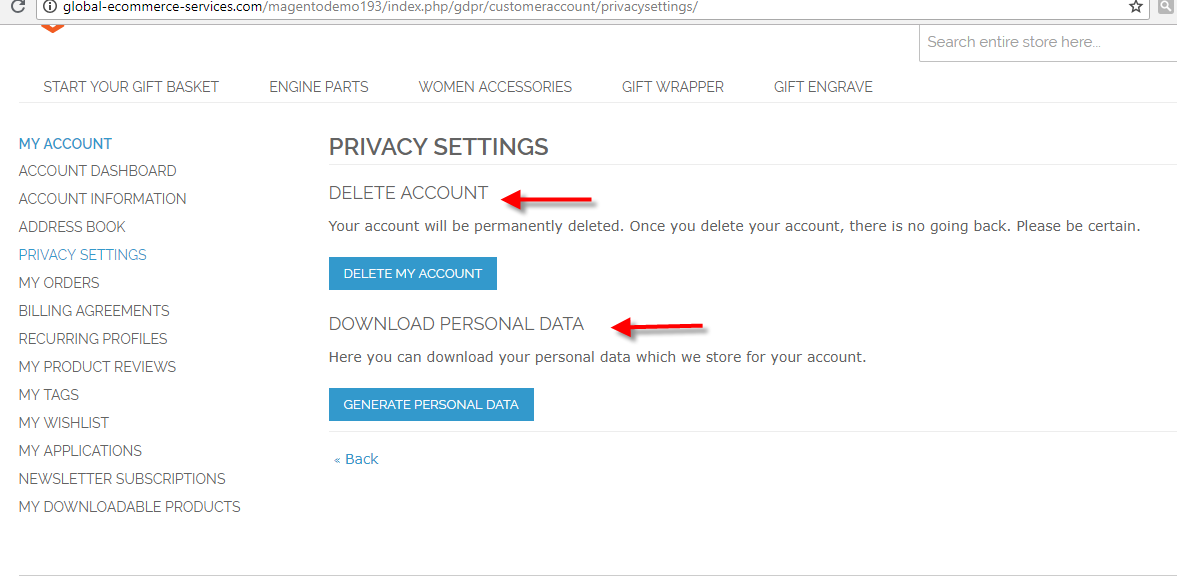 privacy setting my account